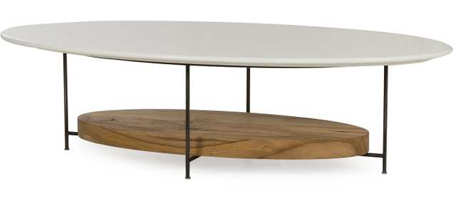 Tagg Lodge White Lacquer Oval Oak Coffee Table - Kathy Kuo Home