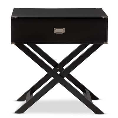 BAXTON STUDIO CURTICE MODERN AND CONTEMPORARY BLACK 1-DRAWER WOODEN BEDSIDE TABLE - Lark Interiors