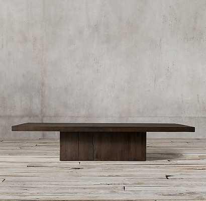 """Reclaimed Russian Oak Plinth Rectangular Coffee Table - Brown Oak, 55"""" x 32"""" - RH"""