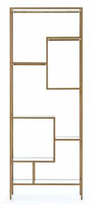 "Helena Bookshelf, 83""h,  Antique Brass - High Fashion Home"