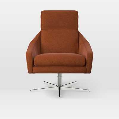 Austin Swivel Chair, Worn Velvet, Copper - West Elm