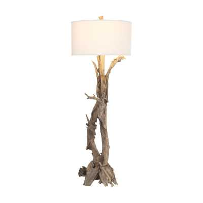 Hounslow Heath 1 Light Floor Lamp In Natural Teak Root - Rosen Studio
