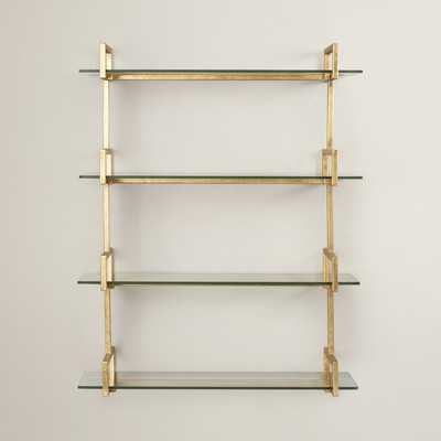 Antiqued gold/Clear Wall Shelf - Wayfair