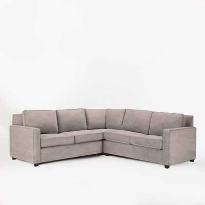 Henry Set 1 (Corner, 2 One-Arm Sofas (Left, Right), Performance Velvet, Dove Gray - West Elm