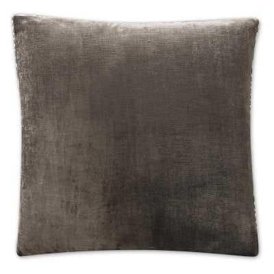 "Velvet Pillow Cover with Zebra Trim, 22"" X 22"", Grey - Williams Sonoma"