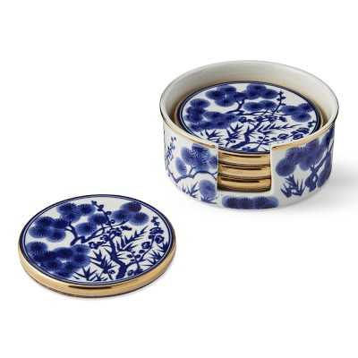Chinoiserie Ceramic Coasters and Holder, Blue and White - Williams Sonoma