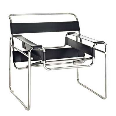 SLINGY VINYL LOUNGE CHAIR IN black - Modway Furniture