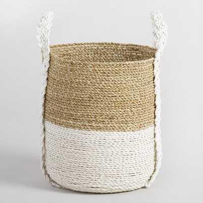 Medium Two Tone Seagrass Bianca Tote Basket - World Market/Cost Plus