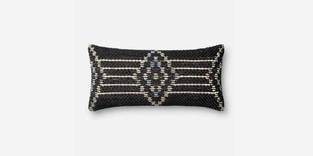"""P4028 ED NAVY / MULTI 12"""" x 27"""" pillow cover with down insert - ED Ellen DeGeneres Crafted by Loloi Rugs"""