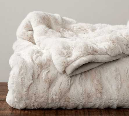 "Ruched Faux Fur Throw, 50x60"", Ivory - Pottery Barn"