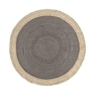 Bordered Round Jute Rug, 6' Round, Platinum - West Elm