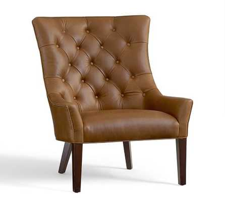 HAYES TUFTED LEATHER ARMCHAIR, TOFFEE - Pottery Barn