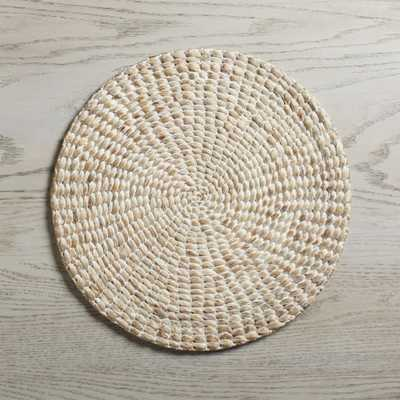 Whitewash Water Hyacinth Round Placemat - Crate and Barrel
