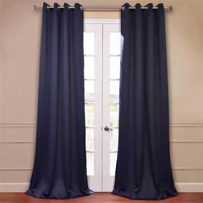 Semi-Opaque Navy Blue Grommet Blackout Curtain - 50 in. W x 96 in. L (Pair) - Home Depot
