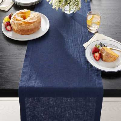 "Helena Indigo Blue Linen 90"" Table Runner - Crate and Barrel"