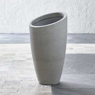 Slant Light Grey Tall Planter - Crate and Barrel