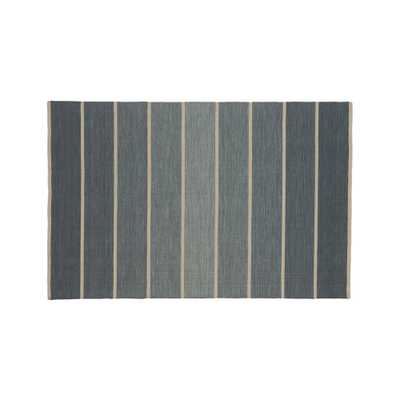 Bold Blue Striped Wool-Blend Dhurrie 5'x8' Rug - Crate and Barrel