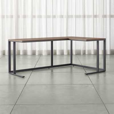 Pilsen Graphite Corner Desk with Walnut Top - Crate and Barrel