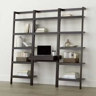 """Sawyer Mocha Leaning Desk with Two 24.5"""" Bookcases - Crate and Barrel"""