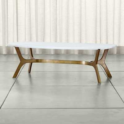 Elke Rectangular Marble Coffee Table with Brass Base - Crate and Barrel