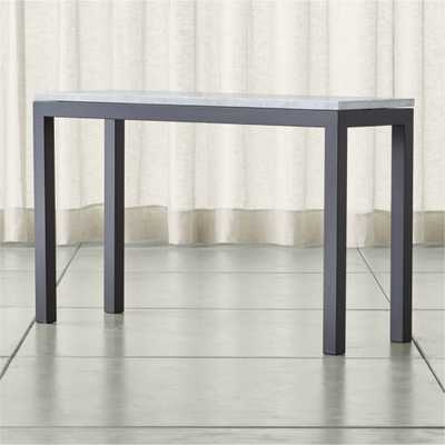 Parsons White Marble Top/ Dark Steel Base 48x16 Console - Crate and Barrel