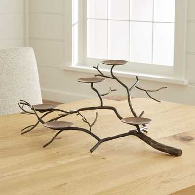Branch Brass Pillar Candle Holder - Crate and Barrel