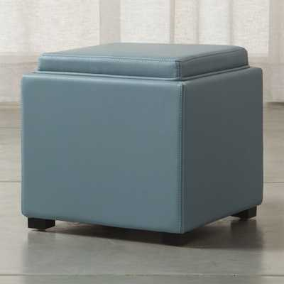 """Stow Ocean 17"""" Leather Storage Ottoman - Crate and Barrel"""