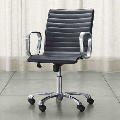 Ripple Black Leather Office Chair with Chrome Base - Crate and Barrel