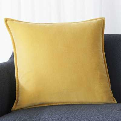 """Brenner Spicy Mustard 20"""" Velvet Pillow with Feather-Down Insert - Crate and Barrel"""