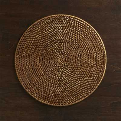 Artesia Round Rattan Honey Placemat - Crate and Barrel