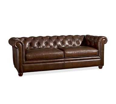 "Chesterfield Leather Sofa 86"", Polyester Wrapped Cushions, vintage cocoa - Pottery Barn"