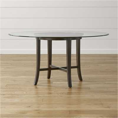 """Halo Ebony Round Dining Table with 60"""" Glass Top - Crate and Barrel"""