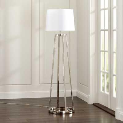 Stanza Nickel Floor Lamp - Crate and Barrel