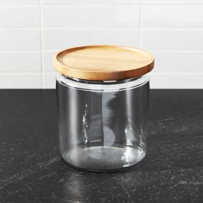 Montana 64 oz. Acacia and Glass Jar - Crate and Barrel