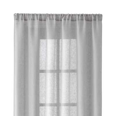 "Light Grey Linen Sheer 52""x96"" Curtain Panel - Crate and Barrel"