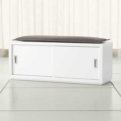 """Aspect White 47.5"""" Sliding Door Bench with Cushion - Crate and Barrel"""