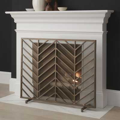 Chevron Brass Fireplace Screen - Crate and Barrel