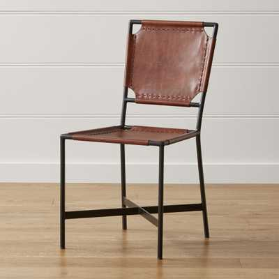 Laredo Brown Leather Dining Chair - Crate and Barrel