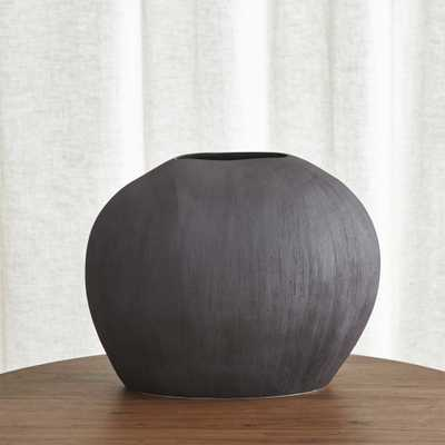 Alura Short Dark Grey Oval Ceramic Vase - Crate and Barrel