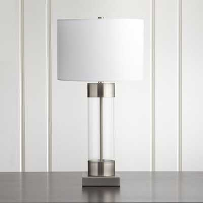 Avenue Nickel Table Lamp with USB Port - Crate and Barrel