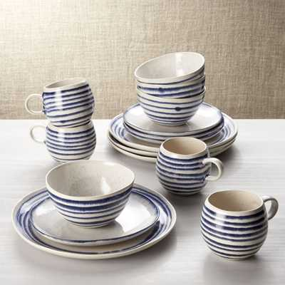 Lina Blue Stripe 16-Piece Place Setting - Crate and Barrel