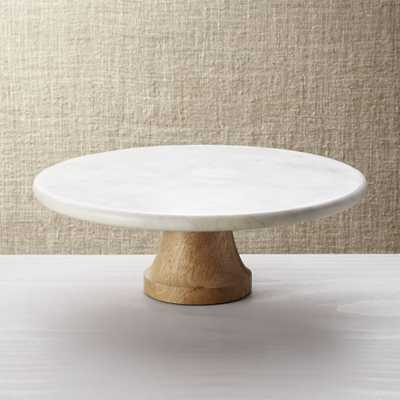 Wood Marble Pedestal - Crate and Barrel