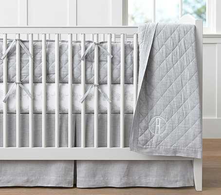 Belgian Flax Linen Baby Bedding - Quilt, Gray - Pottery Barn Kids