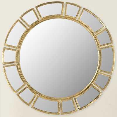 Birksgate Round Antique Gold Patina Sunburst Wall Mirror - Wayfair