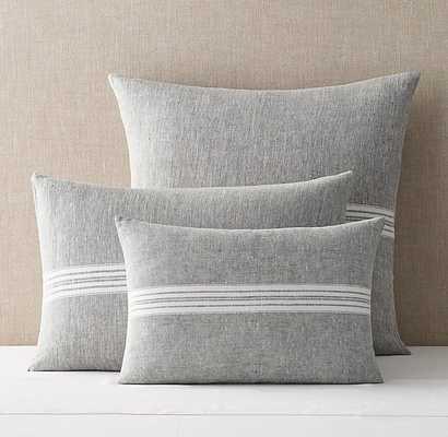"Woven Linen Chambray Stripe Sham - 14"" x 36"" Lumbar - Graphite - RH"