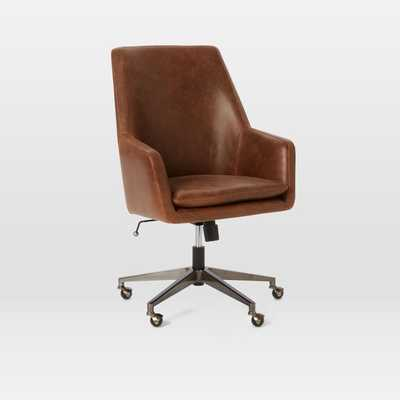 Helvetica High-Back Leather Office Chair - West Elm