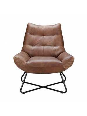 Flavio Lounge Chair, Cappuccino - Lulu and Georgia
