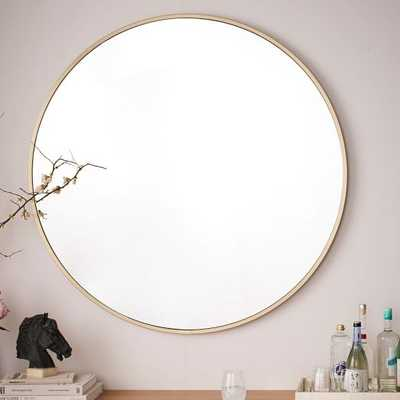 Metal Framed Oversized Round Mirror, Antiqued Brass - West Elm