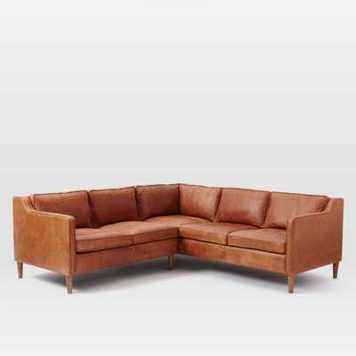 Hamilton 2-Piece Leather Sectional - Left Arm Loveseat + Right Arm Sectional - West Elm