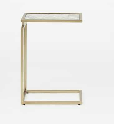 Myles C-Side Table with White Marble/Blackened Brass - West Elm